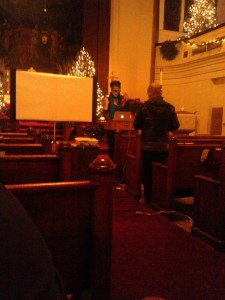 Picture by Danae Hudson. Rev. Nadia Bolz-Weber sets up. And do I really look like that from the back?