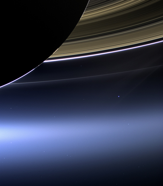 Earth seen from the other side of Saturn