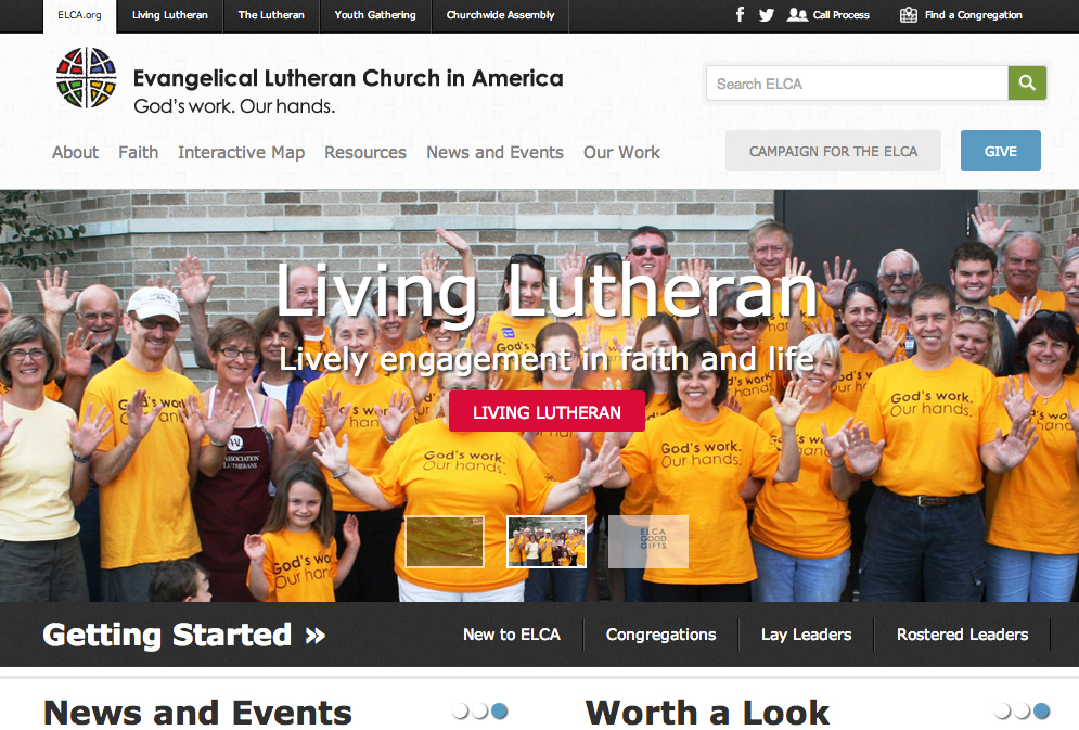 New front page for the ELCA.org