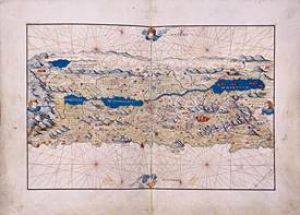 Land Map of Palestine by Battista Agnese in Portolano. ca. 1552